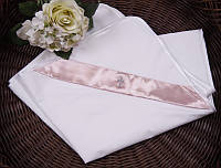 """Пеленка крестильная """"Ангел"""" белая с розовым"""