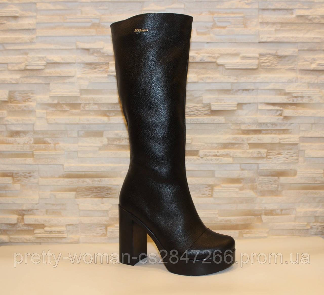 Сапоги женские черные на каблуке натуральная кожа Д675