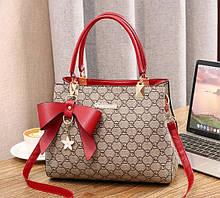 Модная женская мини сумочка с брелком через плечо, маленькая сумка для девушек эко кожа Красный