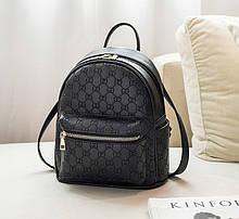Женский городской прогулочный рюкзак качественный и модный мини рюкзачок эко кожа под Гучи Черный