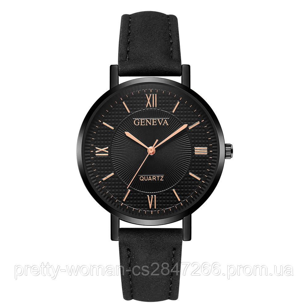 Наручные женские часы Geneva с черным ремешком код 530