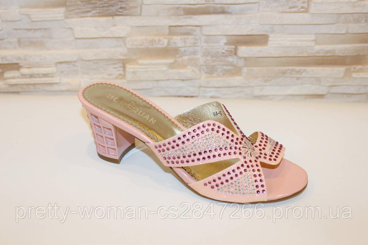 Шлепанцы женские розовые на каблуке Б242