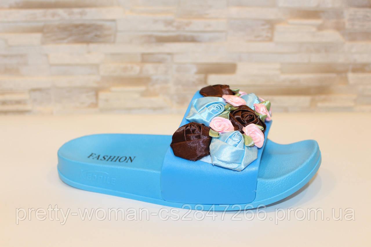 Шлепанцы женские голубые с цветами Б1022 38