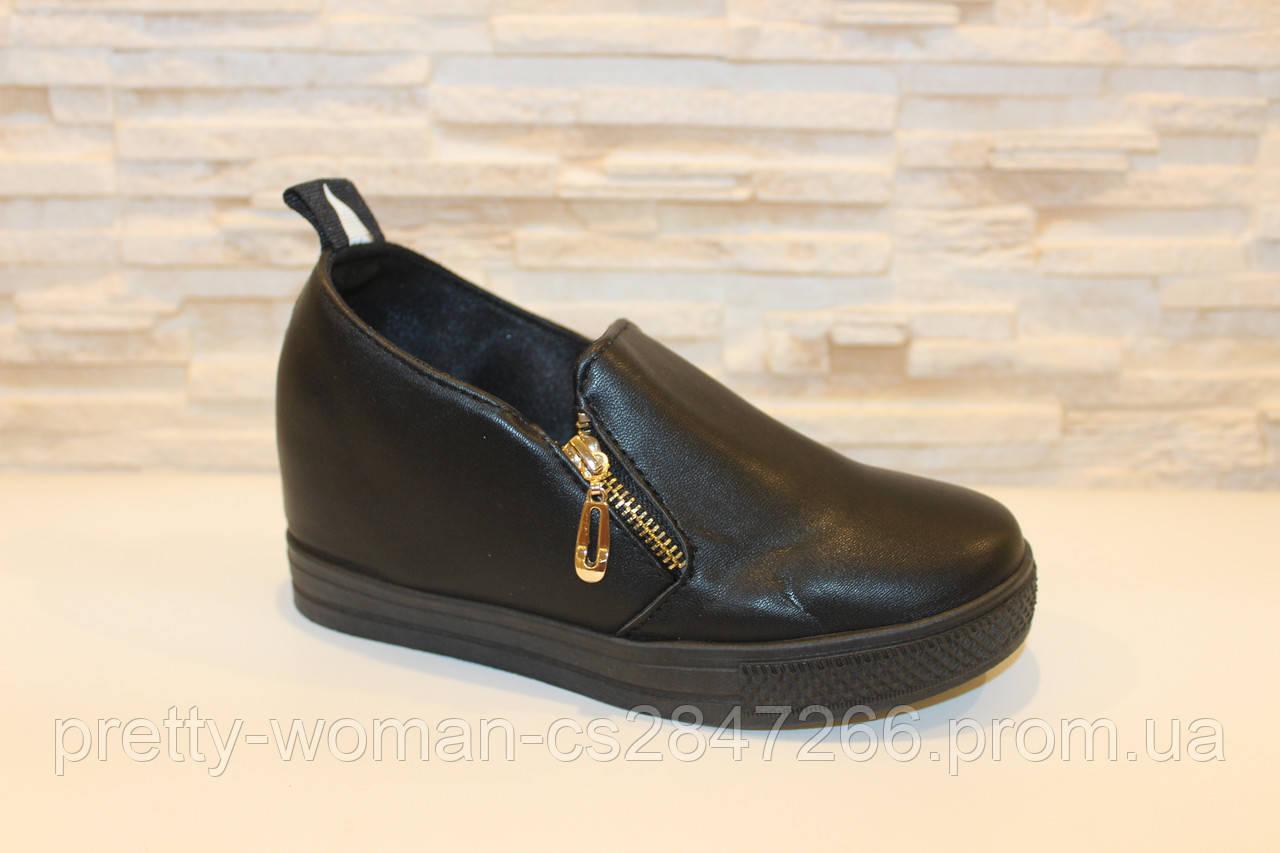 Туфлі жіночі чорні на танкетці Т1162