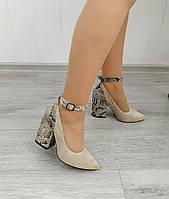 Туфли бежевые на высоком каблуке, фото 1