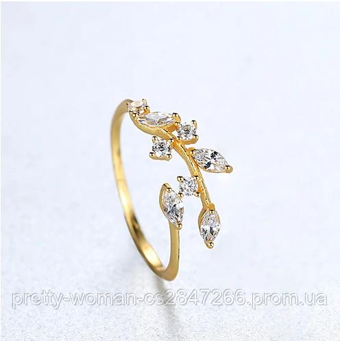 Позолоченное женское кольцо с кристаллами код 1782