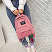 Женский розовый вельветовый рюкзак с брелком код 3-424, фото 4