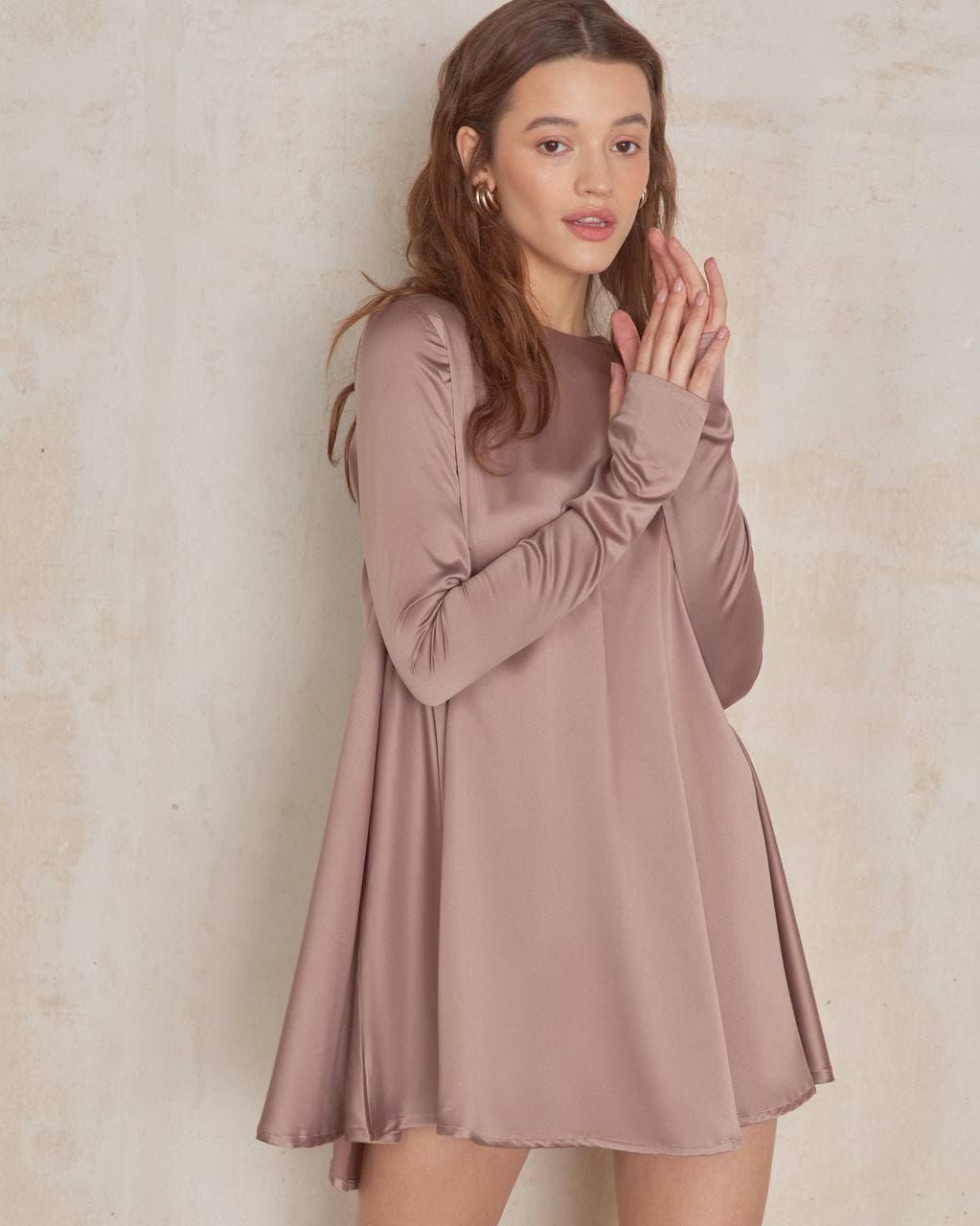 Платье женское мини свободного кроя AniTi 618, бежевый