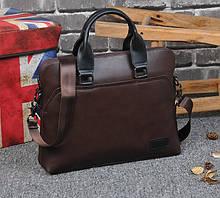 Мужская сумка для документов через плечо мужской деловой портфель эко кожа А4 формат Коричневый