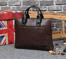 Качественный мужской деловой портфель для документов, мужская офисная эко кожа Коричневый