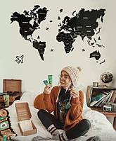 Деревянная карта мира на стену из дерева - Однослойная/Настенная/Декоративная - Черный