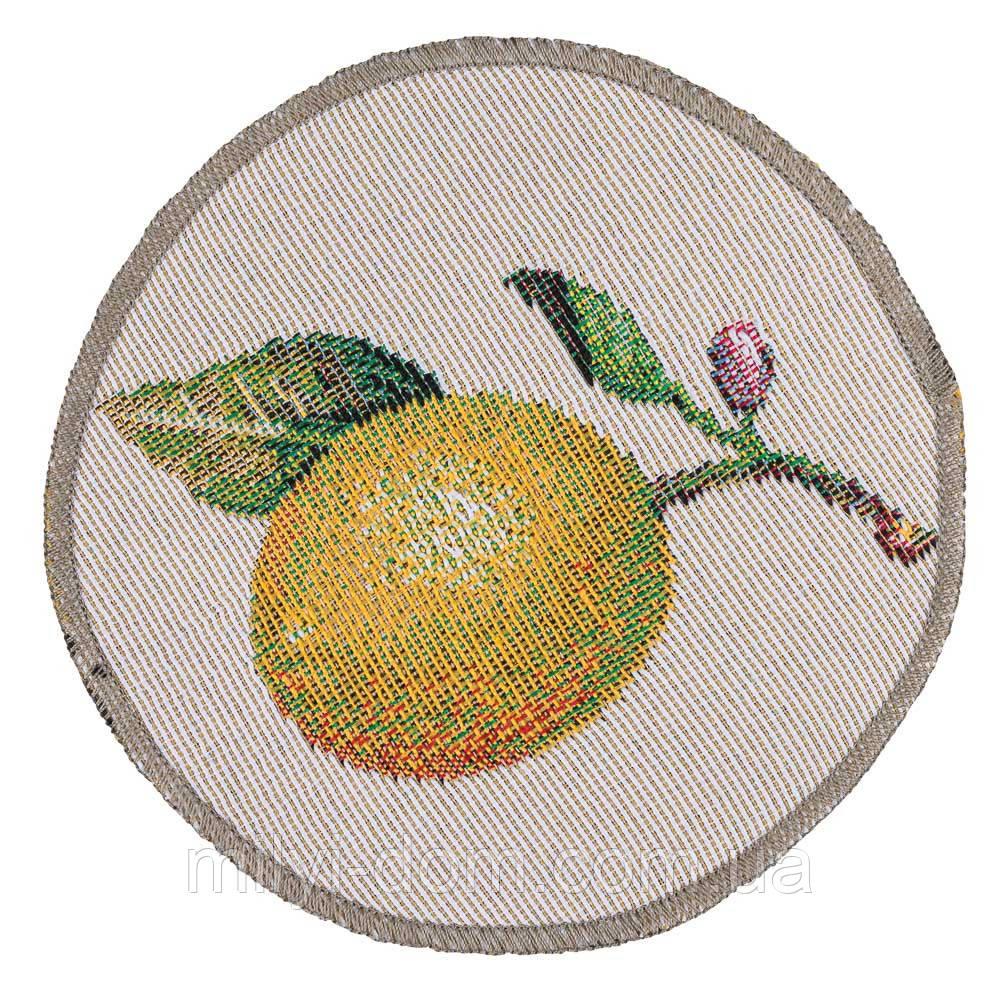 """Салфетка круглая маленькая под тарелку  """"Лимончело"""" , D 10 см"""