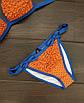 Купальник женский раздельный оранжевый с синим горошек П157, фото 3