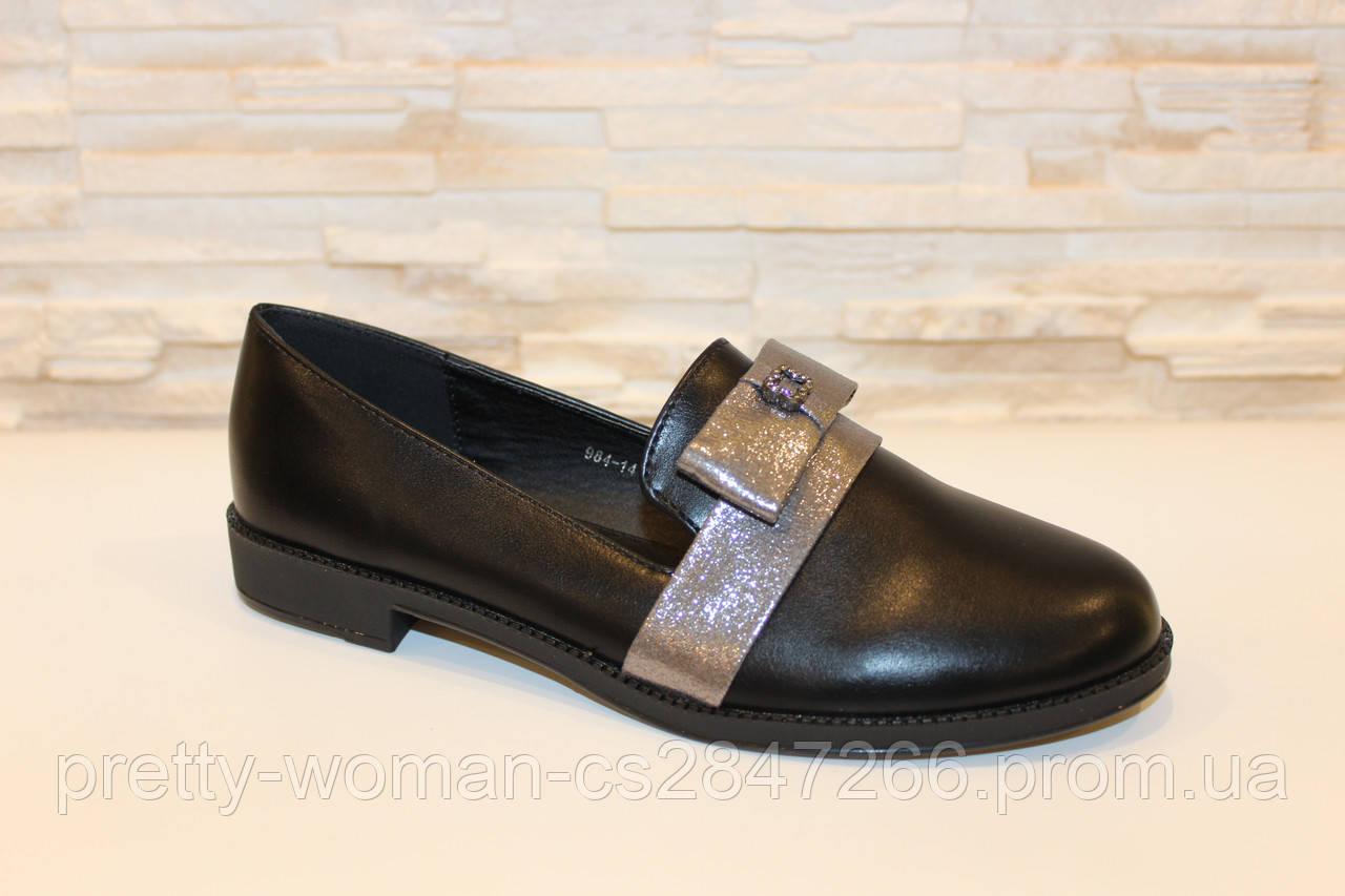 Туфли женские черные с серебром код Т160