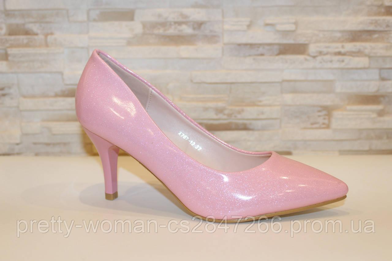 Туфли женские розовые на каблуке Т1205