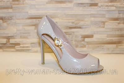 Туфлі літні жіночі сірі лакові на підборах код Б202 38