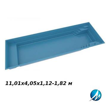 Стекловолоконная чаша XL Trainer 110, 11,01х4,05х1,12-1,82 м