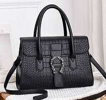 Женская сумка через плечо стильная и модная сумочка Подкова под рептилию эко кожа