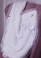 """Крестильное полотенце """"Бантик"""" белое, махра, фото 1"""