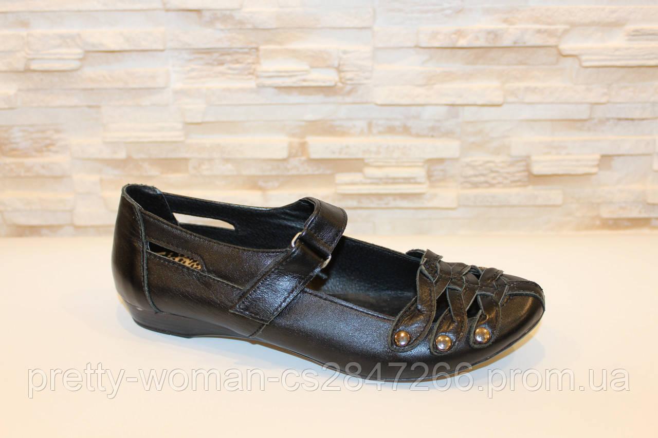 Туфли женские черные натуральная кожа Т151