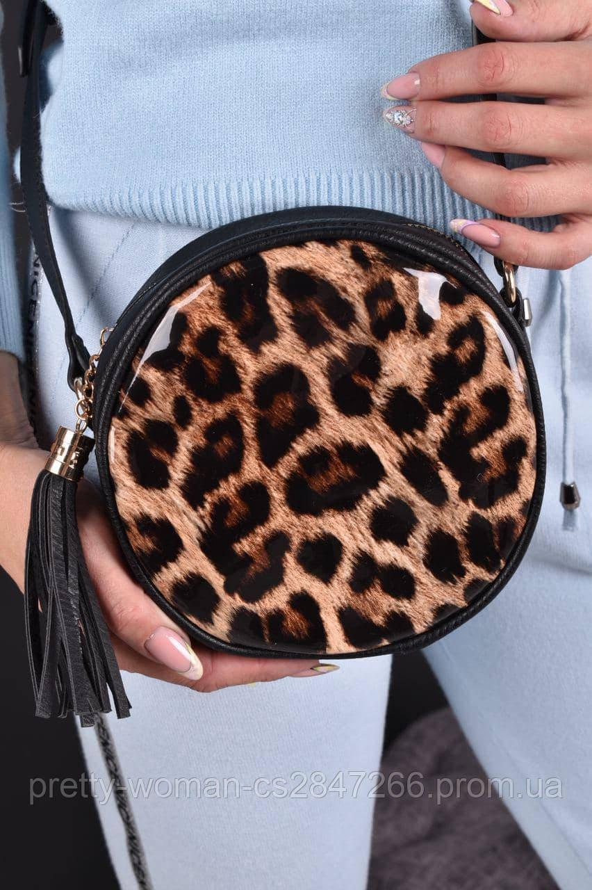 Сумка жіноча чорна кругла з леопардовим принтом код 7-60690