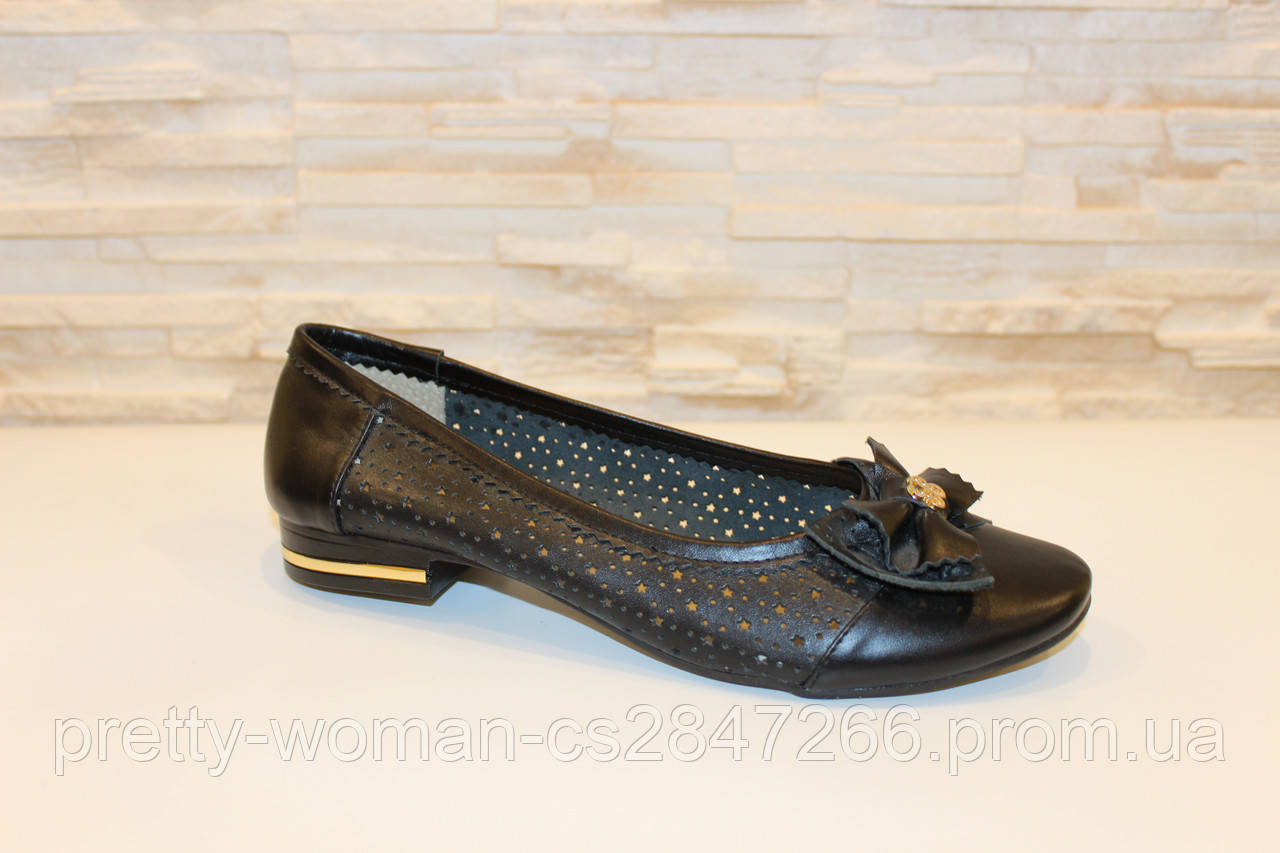 Балетки туфлі жіночі чорні натуральна шкіра Т224