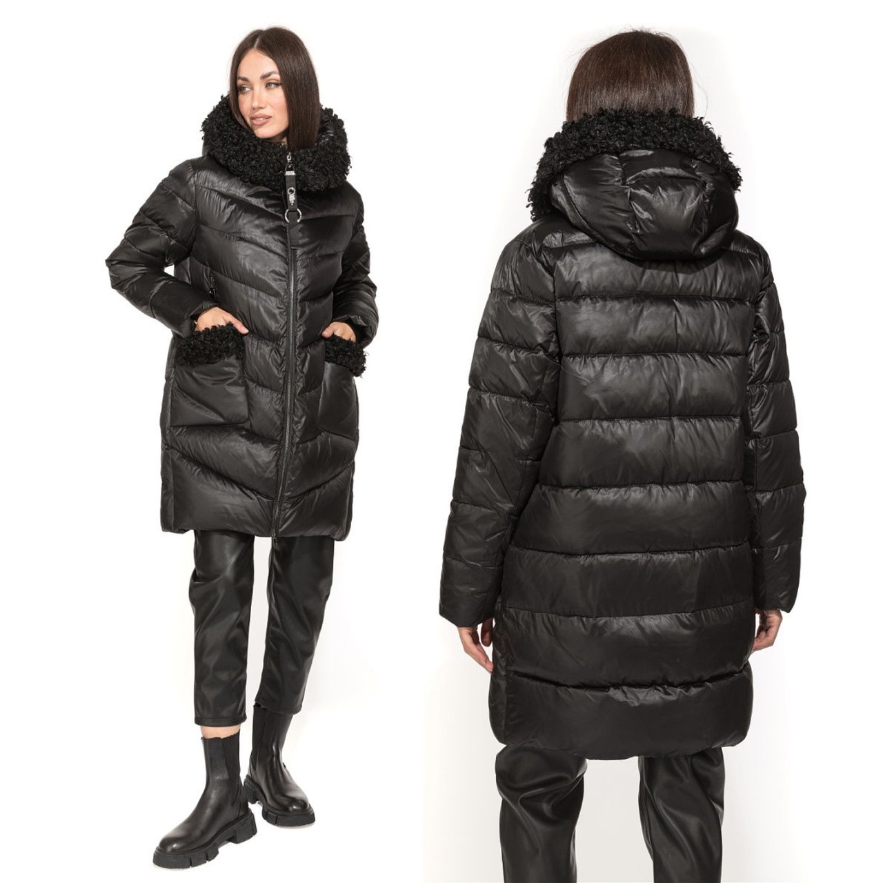 Зимова Жіноча Куртка Пуховик з хутром на кишенях Visdeer 🇨🇳Фабричний Китай Розмір 48/50