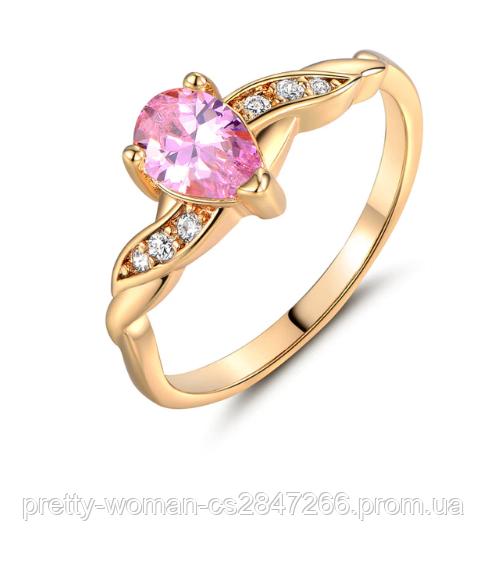 Позолоченное женское кольцо с розовыми и белыми фианитами код 1581