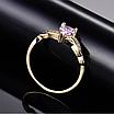 Позолоченное женское кольцо с розовыми и белыми фианитами код 1581, фото 2
