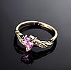 Позолоченное женское кольцо с розовыми и белыми фианитами код 1581, фото 3