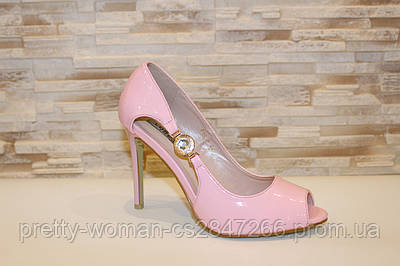Туфлі літні рожеві жіночі лакові на підборах код Б199