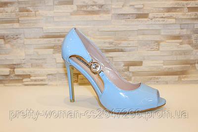 Туфлі літні жіночі блакитні лакові на підборах код Б200