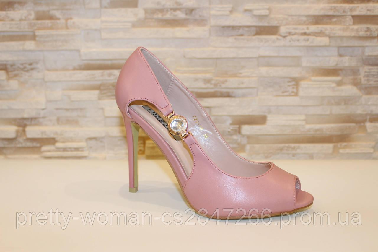 Туфли летние женские пудра на каблуке код Б201