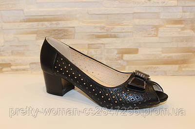 Туфлі жіночі літні, чорні на зручному каблуці Б207 37
