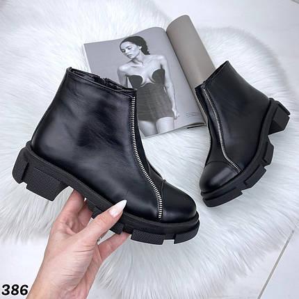 Ботинки женские черные кожаные демисезонные, фото 2