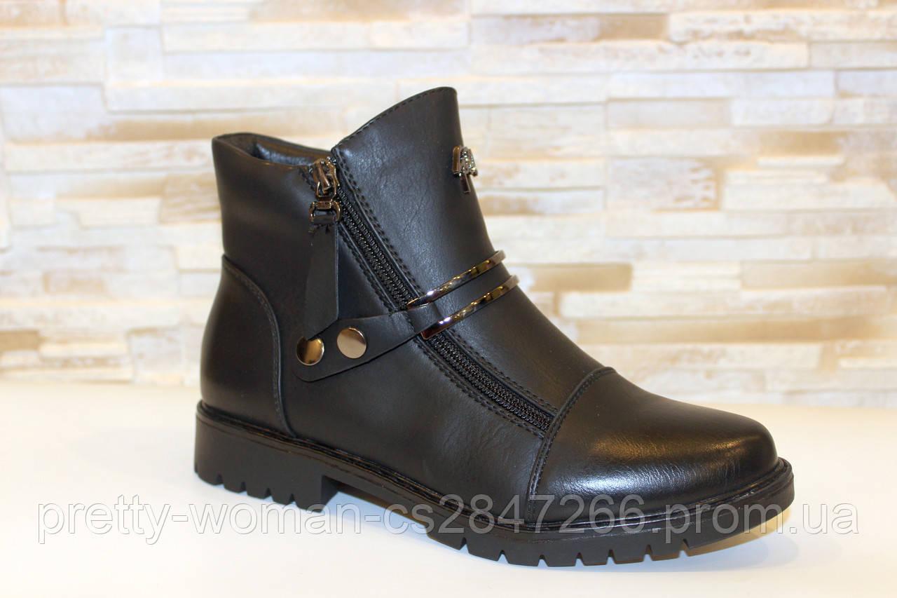 Ботинки женские черные на молниях Д606