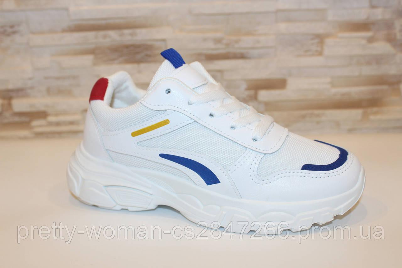 Кроссовки белые с вставками Т005