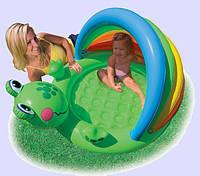 Детский надувной бассейн «Веселый лягушонок». Бассейн с козырьком.