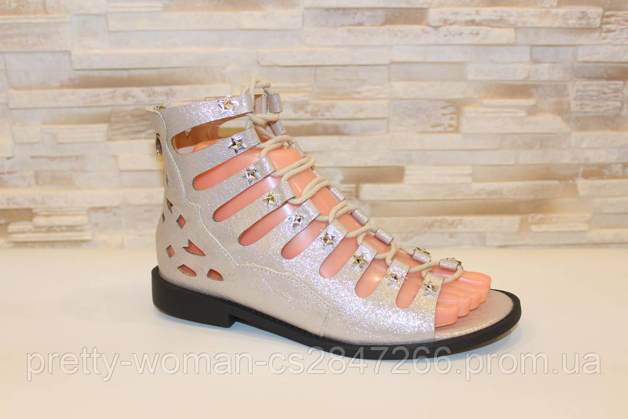 Босоножки женские бежевые на шнуровке Б72