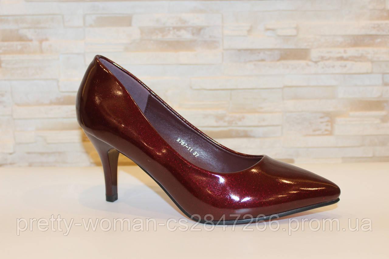 Туфлі жіночі бордові на підборах Т1207 40