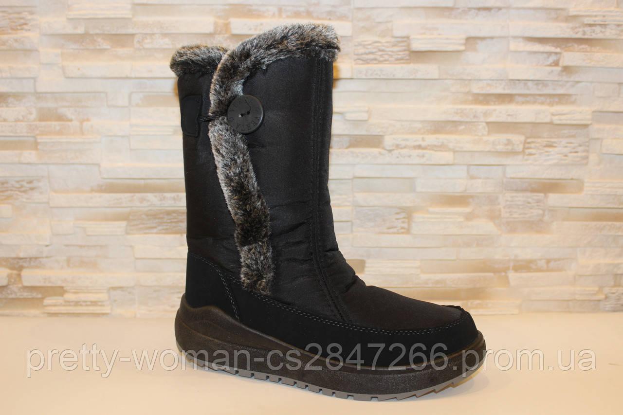Чоботи жіночі зимові дутіки чорні С125