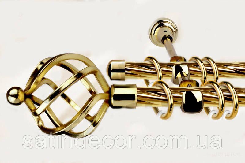 Карниз для штор металевий АЖУР подвійний 19+19 мм 2.0 м Кручена Колір Золото
