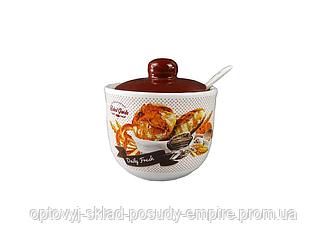 Сахарница керамическая с ложкой Interos 350 мл Хлеб (ZFC-045-BZ)
