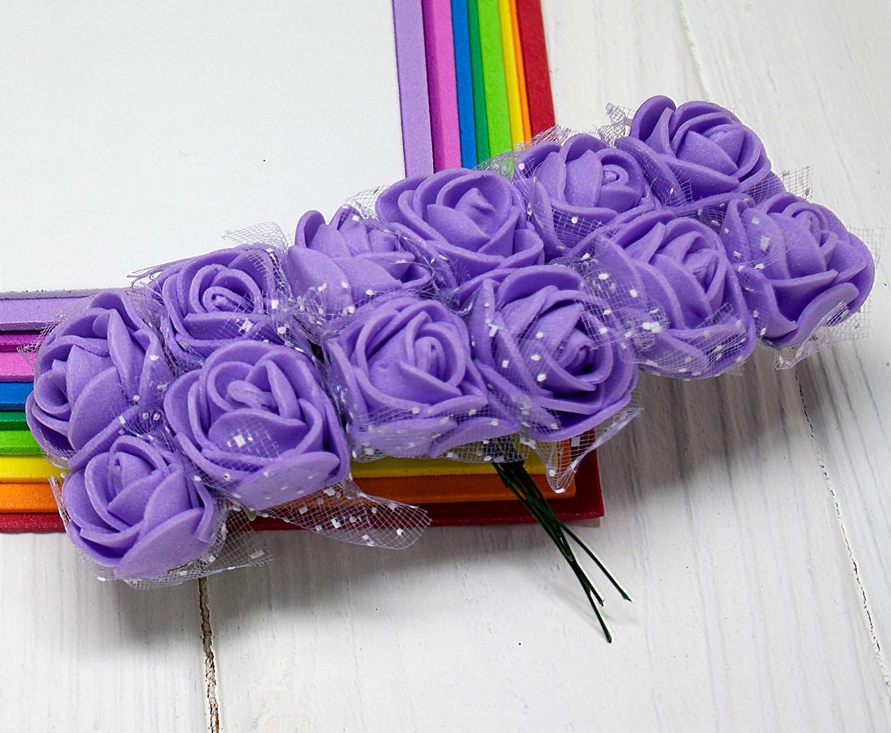 Розочки из фоамирана с фатином Ø2см (цена за 12шт), Фиолетовые розы с фатином
