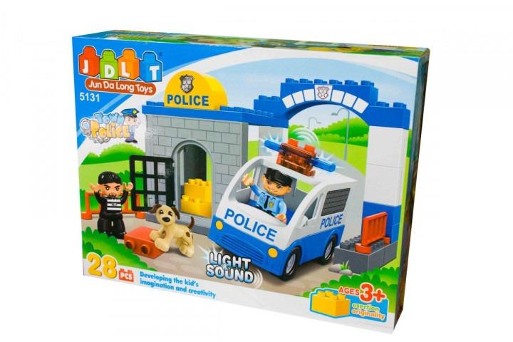 """Конструктор JDLT 5131 """"Поліцейську дільницю"""", 28 деталей, світло, звук, в коробці"""