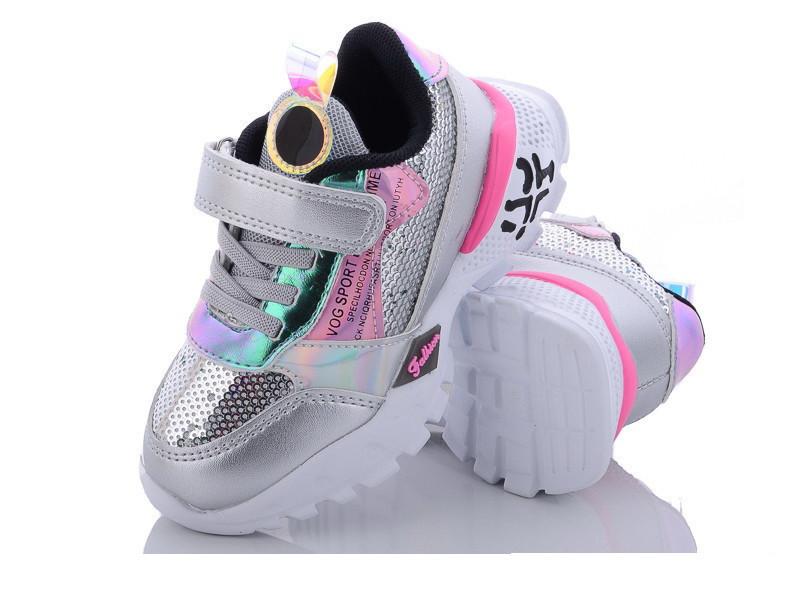 Детские кроссовки для девочек белые паетки 31р 18.5см