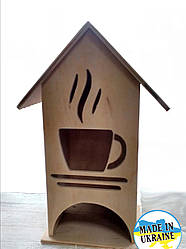 """Чайный домик деревянный для пакетиков  """"Чашечка чая"""""""