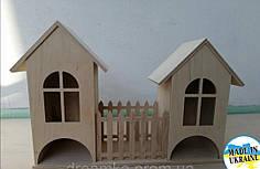 Чайный домик двойной с забором деревянный основа для декупажа и декорирования