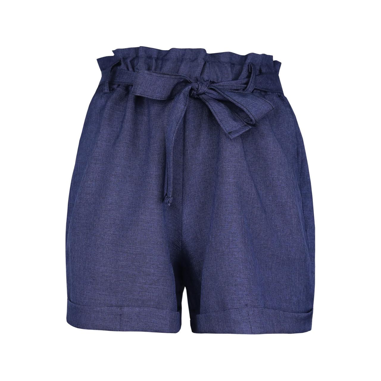 Шорти жіночі літні легкі сині однотонні M, L, XL бавовна