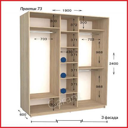 Шкафы купе ПРАКТИК 73 / ширина-1900/ глубина-450/600/ высота-2200/2400 (Гарант), фото 2